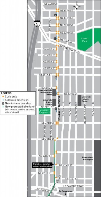 Roosevelt Way in Seattle is slated for a slew of safety improvements, including a protected bike lane. Image: The Urbanist