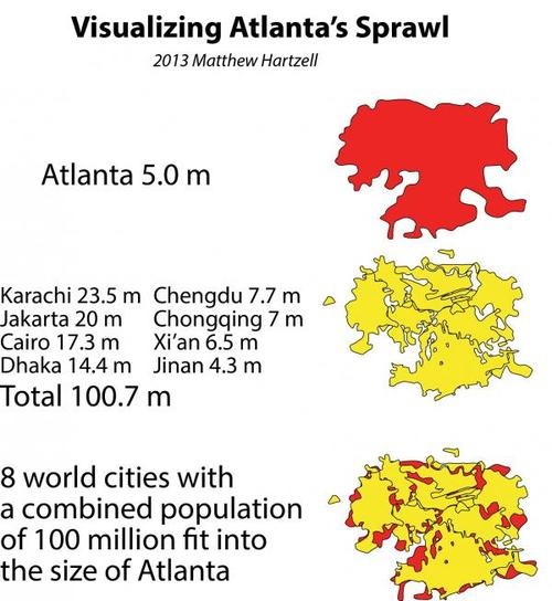 Atlanta's so sprawling, most people have no choice but to spend a lot of their hard-earned money and precious time driving. Image via ATL Urbanist