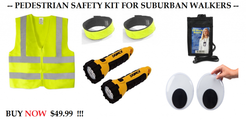 All the equipment you need to take a walk in your neighborhood without dying, for $49.95! Image: Streets.mn