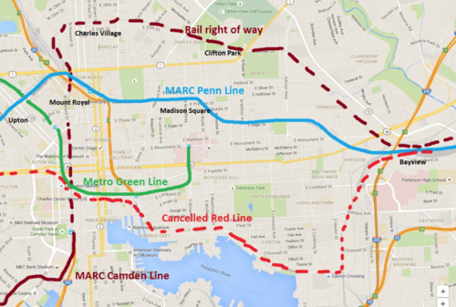 A 2007 plan called for new stations along the MARC Penn Line, shown here in relation to the cancelled Red Line. Image: GGW