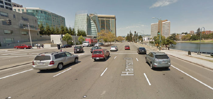 """Harrison Street in downtown Oakland is a barrier for pedestrians. Unfortunately, even after a """"Green Streets"""" makeover, it will mostly stay that way, says Ralph Jacobson. Photo: Google Streetview via GJEL Accident Attorneys"""