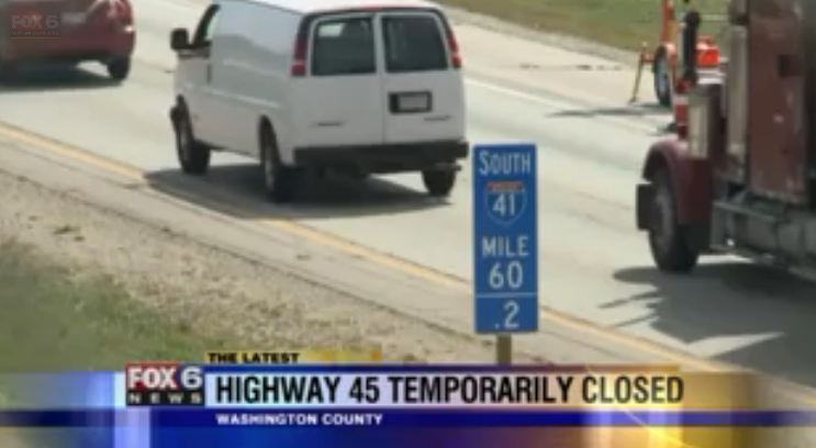 """Wisconsin had to shut down a freeway for hours last week for emergency repairs to three """"enormous"""" potholes. Image: Fox 6 Milwaukee"""