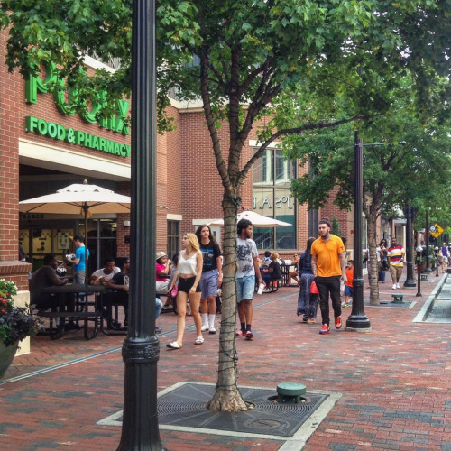 Atlantic Station in Atlanta is a nice place to walk, but getting to it by foot or bike is not so easy. Photo: ATL Urbanist