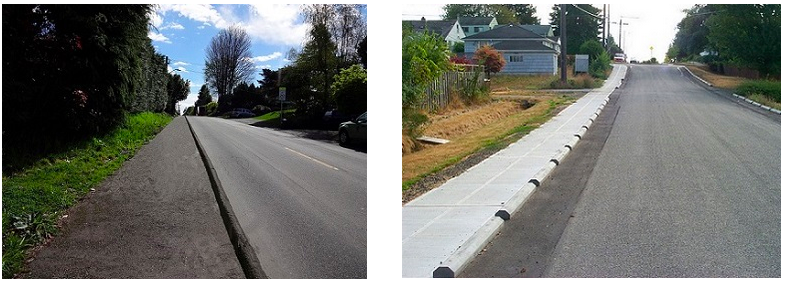 A cheap way to add sidewalks: partition off part of the street for sidewalks. Photos: City of Seattle