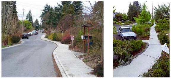Sidewalks on one side of the street with landscaping features that help stormwater management can save sewer costs. Photo: City of Seattle