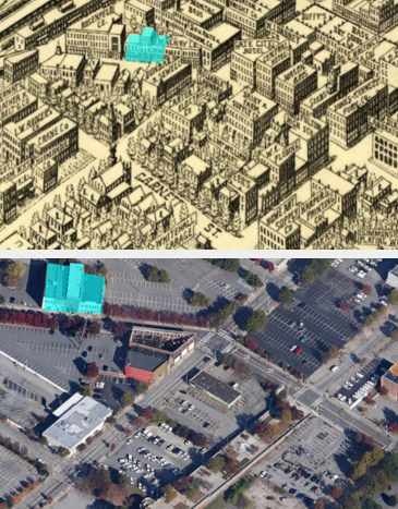 The top image shows a 191 aerial map of south downtown Atlanta. The below image shows what it looks like in the present day. Image: ATL Urbanist