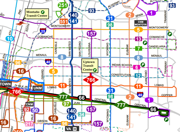 ART -- Albuquerque's Rapid Transit -- BRT project will give a frequently running spine to the city's transit grid. Map: ABQ Ride