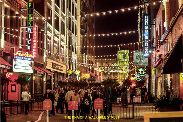 """East Fourth Street in Cleveland, the city's premier downtown entertainment district, would be """"illegal"""" under the current zoning code without a host of variances. Image: City of Cleveland via Green City Blue Lake"""