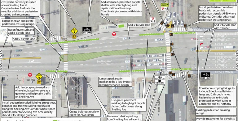 Residents in Saint Paul devoted devoted hundreds of hours to developing this multi-modal plan for Snelling Avenue, only to have huge portions of it thrown out without notice or explanation. Image: Streets.mn