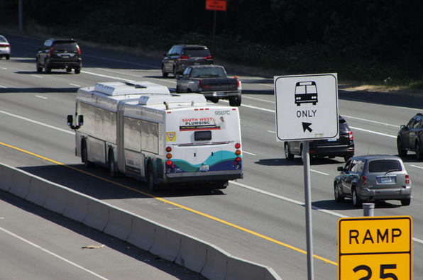 Should a bus holding 40 people and a car holding one person count as the same when it comes to how we measure congestion? Photo: SounderBruce