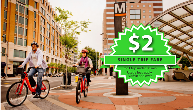 D.C. Capital Bikeshare is now offering a $2 single-trip fare. Image: CaBi