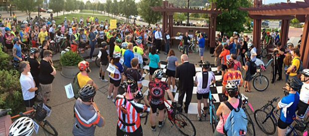 Cyclists rally for a safer Carson Street in Pittsburgh. Photo: Bike PGH