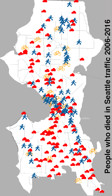 This map shows the locations of traffic deaths in Seattle over the last 10 years. Map: Seattle Department of Transportation